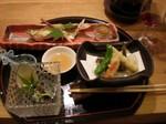 鮎塩焼、鱧、蟹天麩羅、鮭奉書巻
