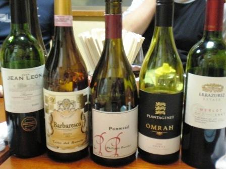 長谷部ワイン講座のワインたち